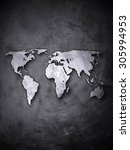 world map on concrete wall | Shutterstock . vector #305994953