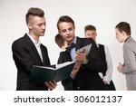 a group of young businessmen... | Shutterstock . vector #306012137