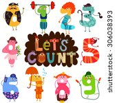 let's count  learn to count... | Shutterstock .eps vector #306038393