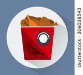 bucket of chicken legs round... | Shutterstock .eps vector #306038543