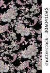 vintage rose and paisley... | Shutterstock .eps vector #306041063
