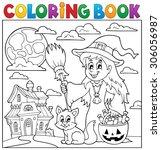 coloring book halloween...   Shutterstock .eps vector #306056987