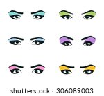 eyes icons set. girl  young... | Shutterstock .eps vector #306089003