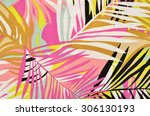 colorful tropical leaves... | Shutterstock . vector #306130193