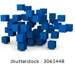 group of cubes all in chaotic pattern - stock photo