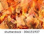 100 euro banknotes burning in... | Shutterstock . vector #306151937
