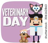 veterinary day on purple... | Shutterstock .eps vector #306162863