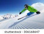 Skier On Piste In High...