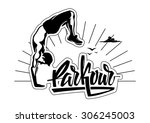 male parkour is doing a hand... | Shutterstock .eps vector #306245003