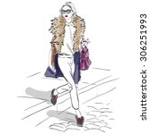 model fashion. sketch ... | Shutterstock .eps vector #306251993