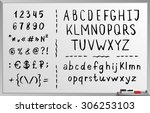 Hand drawn brushed alphabet, black font, letters. Handwritten. Isolated on white background