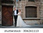 wedding couple background old... | Shutterstock . vector #306261113