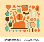 composition with gym and... | Shutterstock .eps vector #306267923