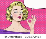 pop art blondie girl is showing ... | Shutterstock . vector #306272417