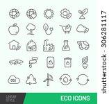 linear simple green eco vector... | Shutterstock .eps vector #306281117