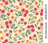 seamless floral pattern vector... | Shutterstock .eps vector #306283313
