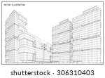perspective 3d wireframe of... | Shutterstock .eps vector #306310403