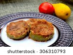 fried green tomatoes  plated... | Shutterstock . vector #306310793