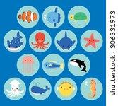 collections of underwater life... | Shutterstock .eps vector #306331973