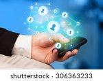 finger pointing on smartphone... | Shutterstock . vector #306363233