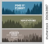 pine forest. journey banner... | Shutterstock .eps vector #306363887