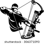 bow hunter aiming with compound ...   Shutterstock .eps vector #306371093