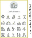 landmark icons set vector... | Shutterstock .eps vector #306408767