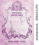 vintage postcard background... | Shutterstock .eps vector #306421193