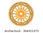 the symbol of dhamma  wheel of... | Shutterstock . vector #306421373
