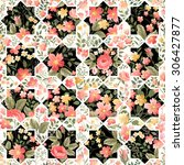 seamless patchwork pattern with ... | Shutterstock .eps vector #306427877