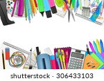 school   office supplies on... | Shutterstock . vector #306433103
