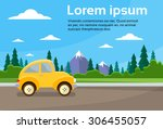 car road landscape mountain... | Shutterstock .eps vector #306455057
