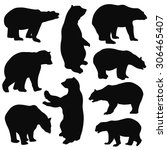 Bear Silhouettes On White...