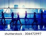 back lit people walking mall... | Shutterstock . vector #306472997