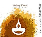 happy diwali diya card artistic ... | Shutterstock .eps vector #306497147