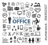 office icons hand drawn  people ... | Shutterstock .eps vector #306502337