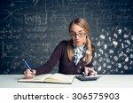 schoolgirl doing  mathematics... | Shutterstock . vector #306575903
