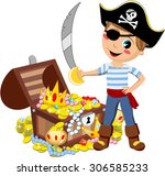 cartoon pirate kid with eye