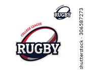 colorful rugby sport logo label ... | Shutterstock .eps vector #306587273