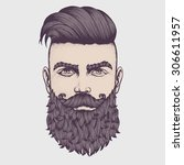 hand drawn portrait of bearded... | Shutterstock .eps vector #306611957