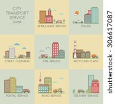 city transport service. set ... | Shutterstock .eps vector #306617087