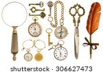 collection of golden vintage... | Shutterstock . vector #306627473
