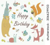 birthday card with cute bunny ... | Shutterstock .eps vector #306629933