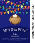happy janmashtami. vector... | Shutterstock .eps vector #306631637