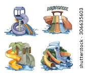 four pictures set of water...   Shutterstock .eps vector #306635603