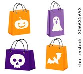 set of four halloween bags with ... | Shutterstock .eps vector #306635693