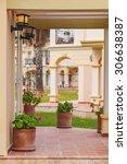 porch rustic villa in tuscan... | Shutterstock . vector #306638387