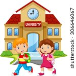 students walk in front of the... | Shutterstock .eps vector #306646067