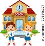 school children posing in front ... | Shutterstock . vector #306646127