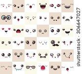 Set Of Cute Vector Faces ...